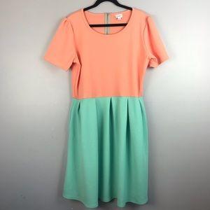 LuLaRoe Colorblock A-Line Pockets Stretch Dress